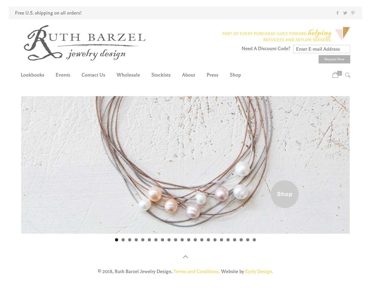 View the Ruth Barzel Jewelry Website by Eyely Design