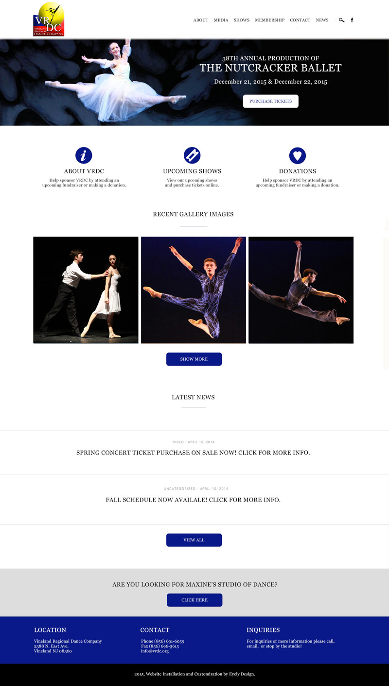 VRDC Website, Vineland Regional Dance Company, Dance Studio, South Jersey Website Design Development Vineland Egg harbor twp mays landing
