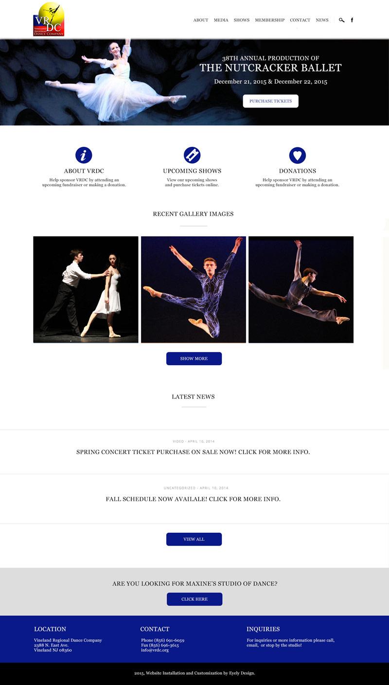 VRDC Website, Vineland Regional Dance Company, Dance Studio, South Jersey Website Design Development Vineland Egg harbor twp mays landing