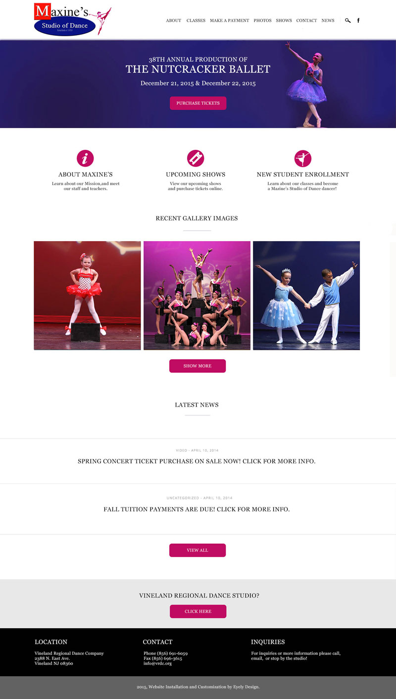 maxines-studio-of-dance-vineland-new-jersey-wordpress-website theme nj south jersey
