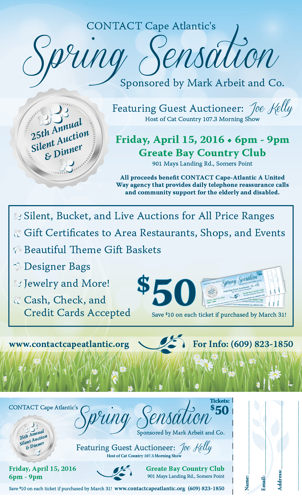 CONTACT Cape Atlantic Silent Auction Poster invitation ticket design