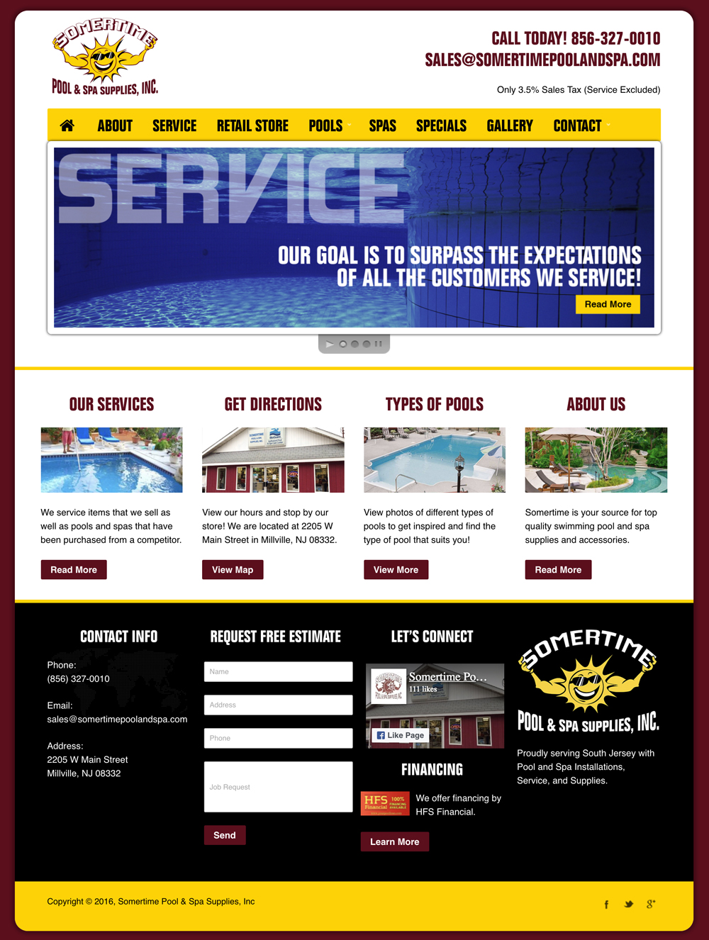 Somertime Pool and Spa Services Millville, NJ Website Graphic Design