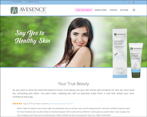 Website Redesign for Skincare Line – Avesence