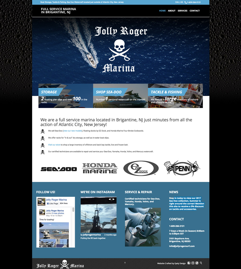 sea doo dealer in NJ, seadoo dealer in NJ, Jolly Roger Marina, Marina Website, Modern Website, sea doo dealer in NJ website, Responsive website, WordPress Website, Eyely Design, Website design