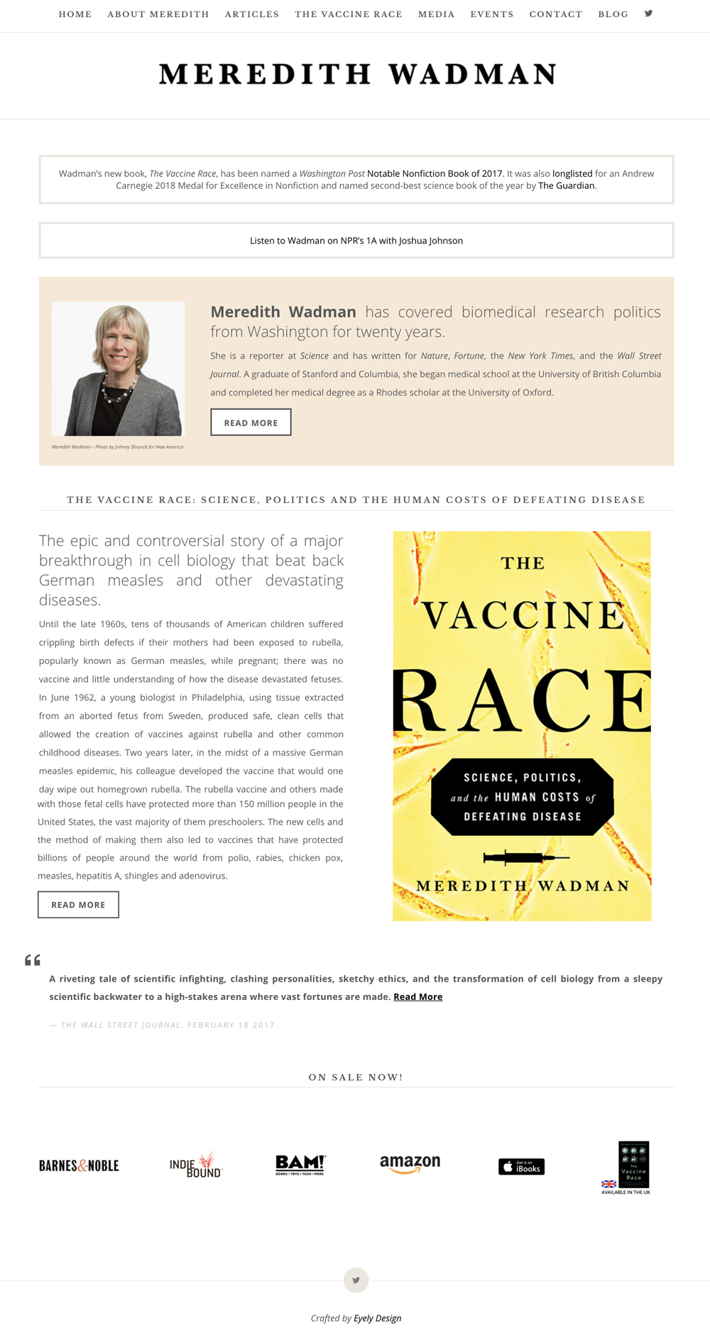 author meredith wadman website, writer of the book the vaccine race