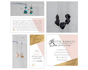 Ruth Barzel – Jewelry Design Care Cards and Business Cards