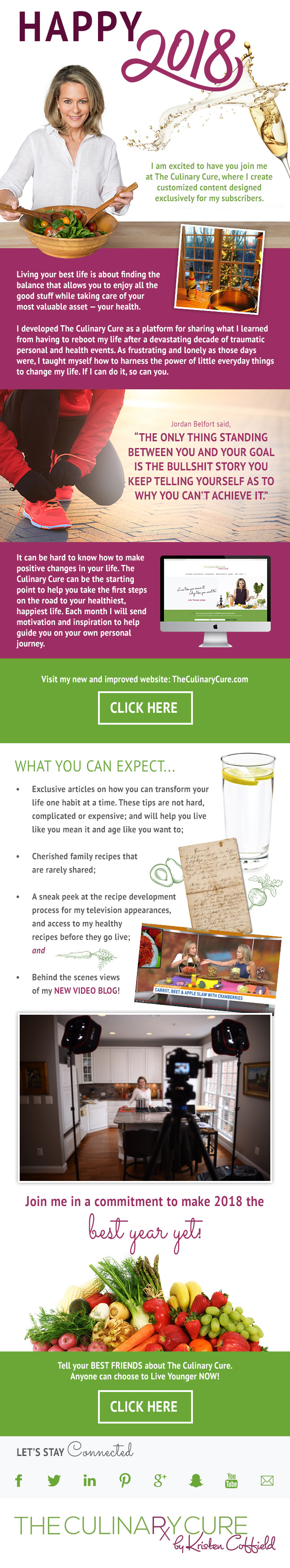 sign up for the culinary cure newsletter - Health Email Template Design