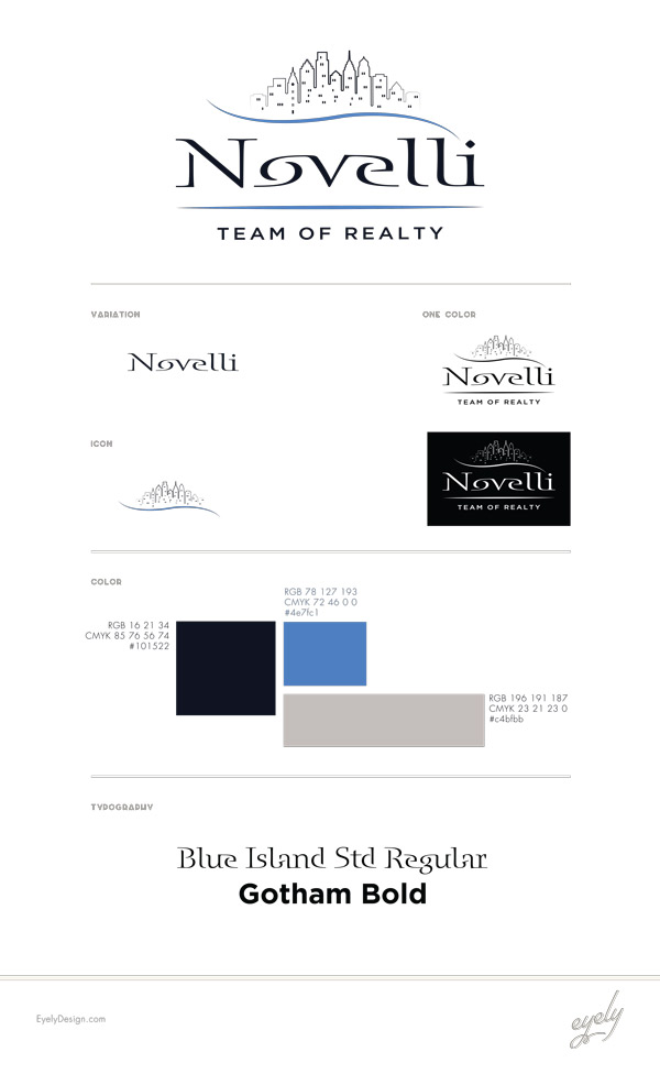 The style sheet for Novelli Team of Realty Philadelphia PA Logo by Eyely Design