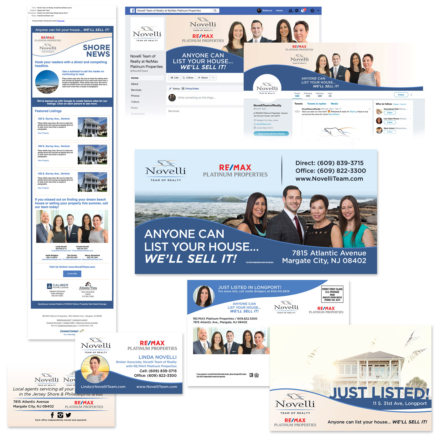 print and digital design materials for Novelli team of realty in margate nj by eyely design