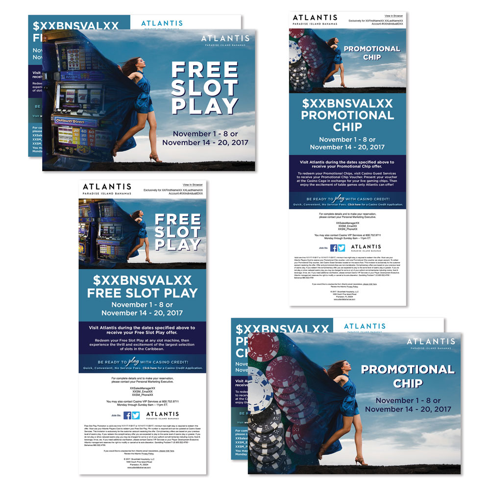 Free Slot Play and Promotional chip casino direct mail