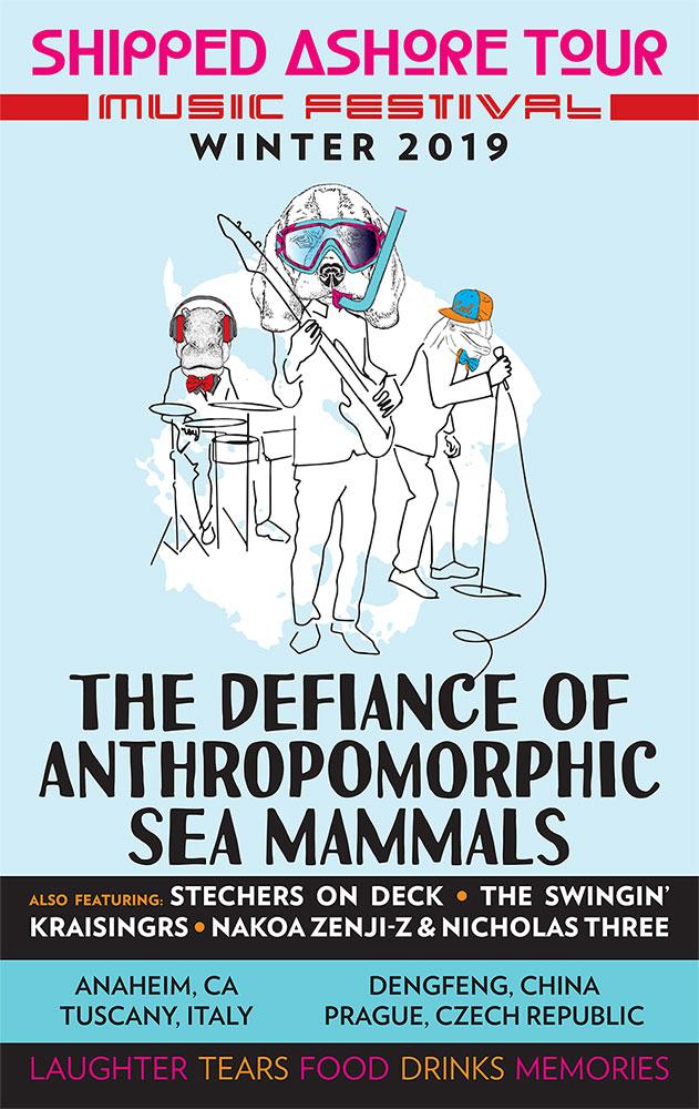 The Defiance Of Anthropomorphic Sea Mammals poster design