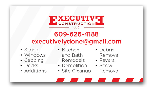 Executive Construction business cards