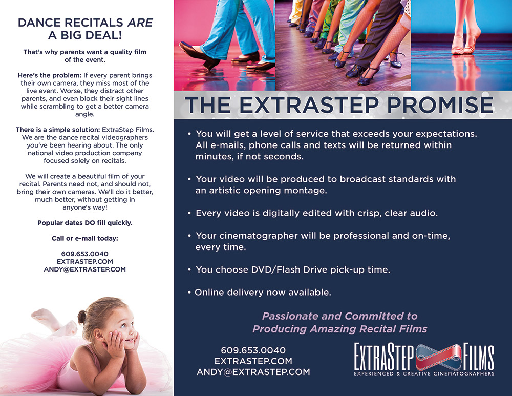 inside trifold brochure ExtraStep Films