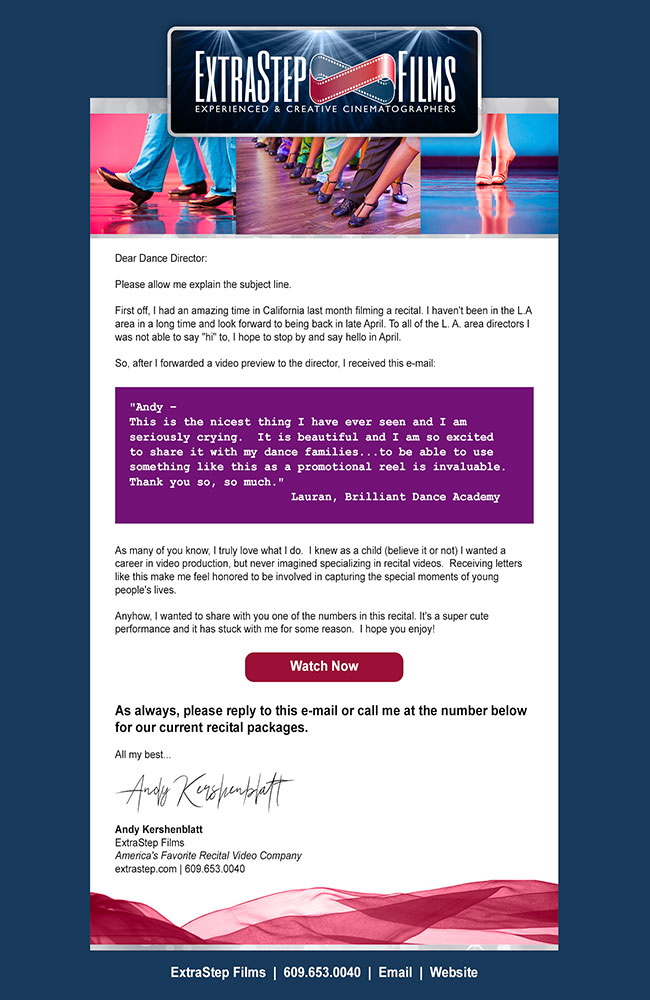 email template design ExtraStep Films