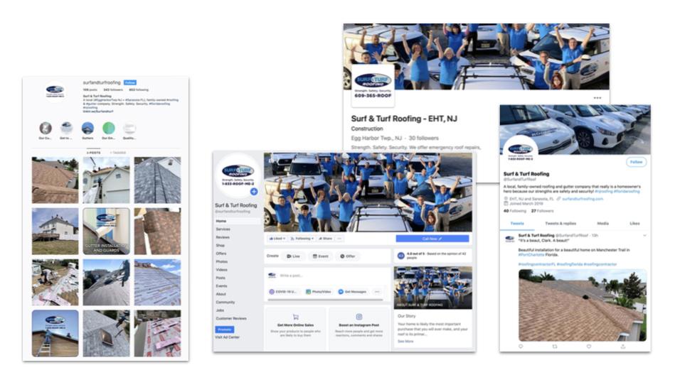 Surf & Turf social media branding