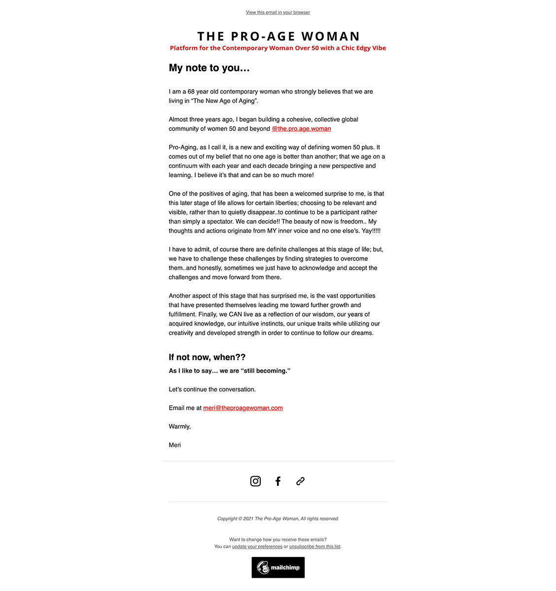 The Pro Age Woman MailChimp Email Template Design