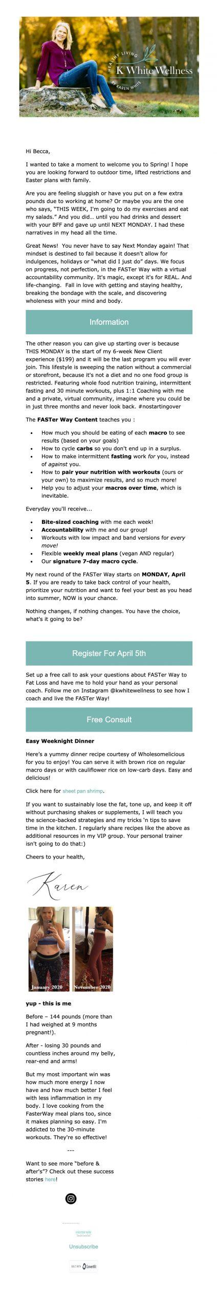 k white wellness email template design