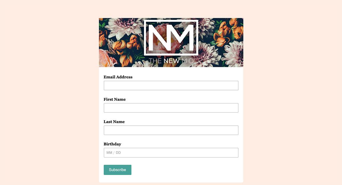 email signup form design