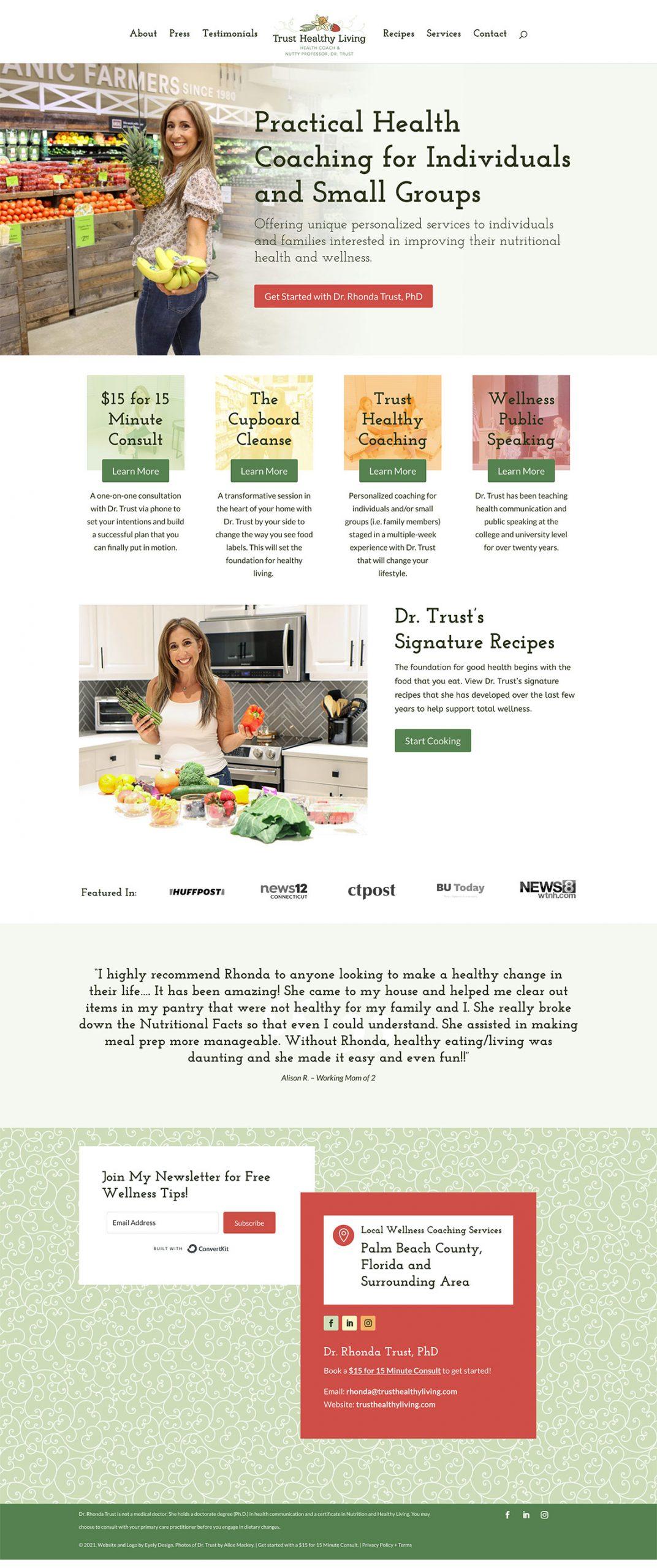Trust Healthy Living website design